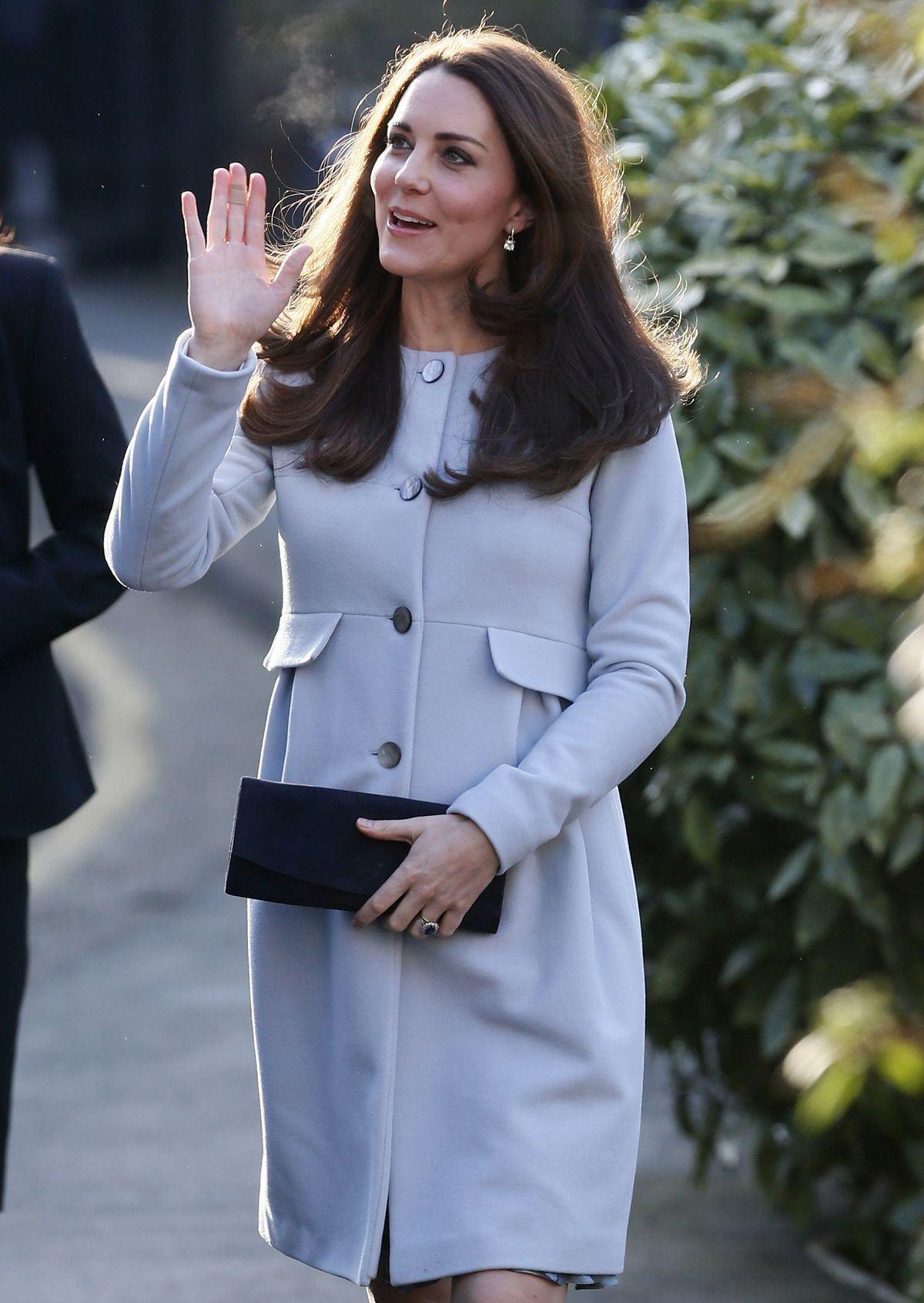 Beautiful Catherine Duchess Of Cambridge In Light Blue